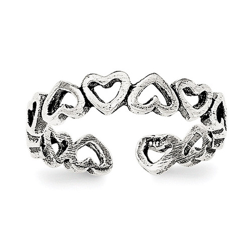 Adjustable Heart Toe Ring Sterling Silver Polished and Antiqued QR6047