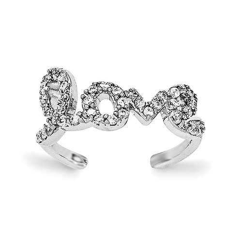 CZ Love Toe Ring Sterling Silver Rhodium-plated QR6048