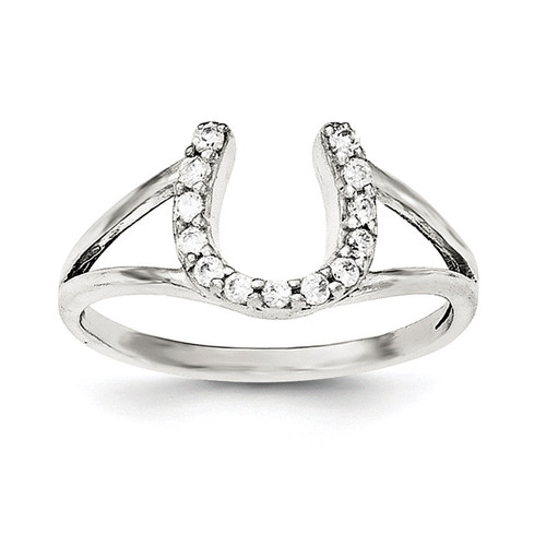 CZ Horseshoe Ring Sterling Silver Polished QR6216