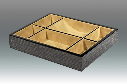 Tizo 10.25 x 8.25 Inch Sectional Wooden Valet Tray - Black