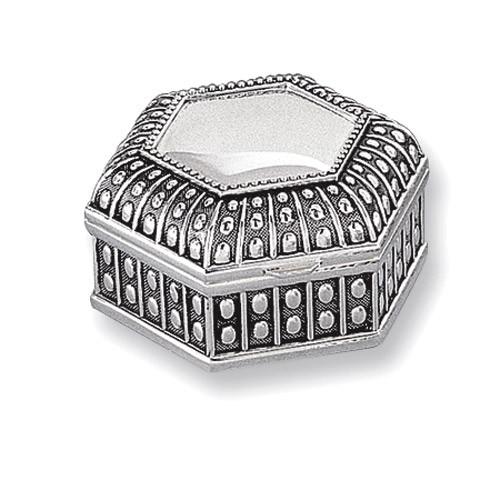Antiqued Silver-plated Medium Hexagon Dot Jewelry Box GL1620