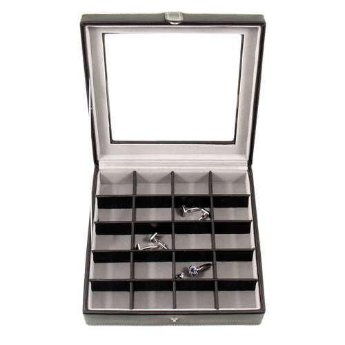 Black Leather 20 Cufflink Box with Glass Top and Snap Closure GM13297