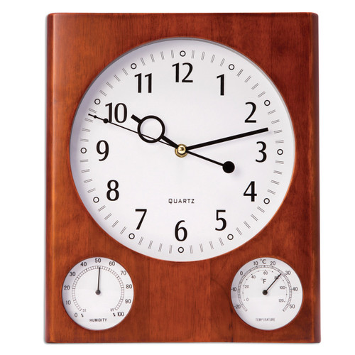 Cherry Wall Clock with Thermometer & Hygrometer GM13373