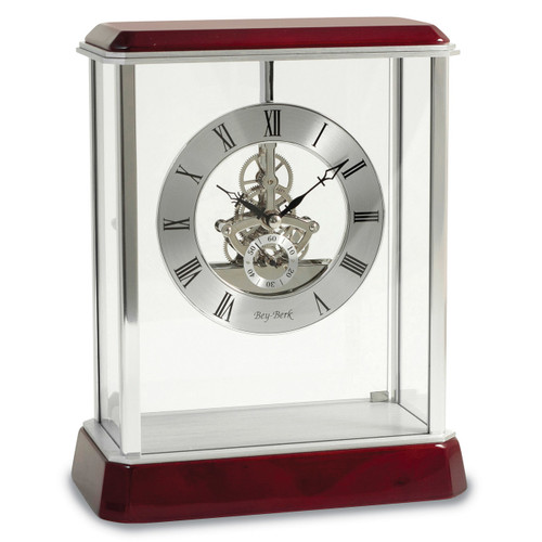 Lacquered Rosewood Stainless Steel Accents Quartz Clock GM13375