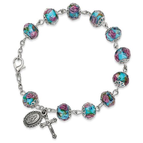 Handpainted Aqua Beads Rosary Bracelet Silver-tone GM13493