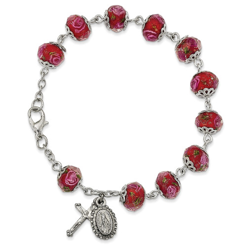 Handpainted Red Beads Rosary Bracelet Silver-tone GM13495