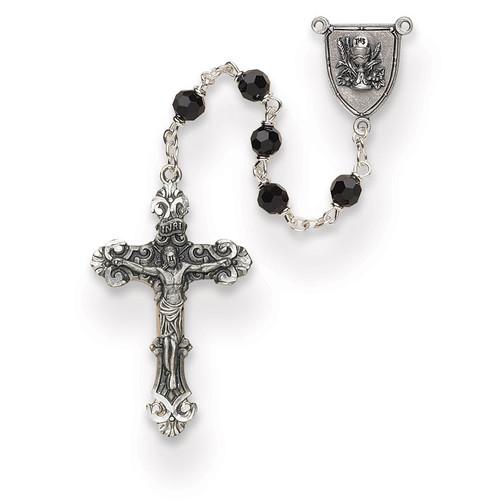 Boys Black Austrian Crystal First Communion Rosary GM13505