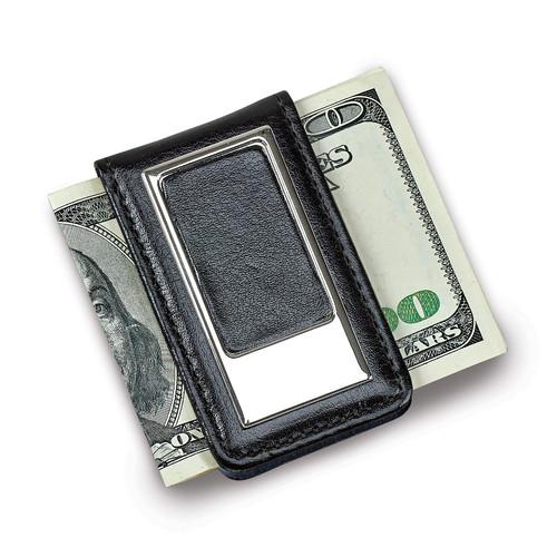 Black Faux Leather Money Clip GM14594