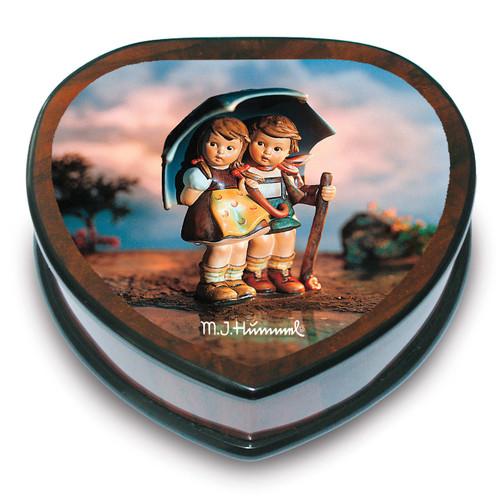 Artist Hummel Heart Shaped Stormy Weather Music Box GM15100