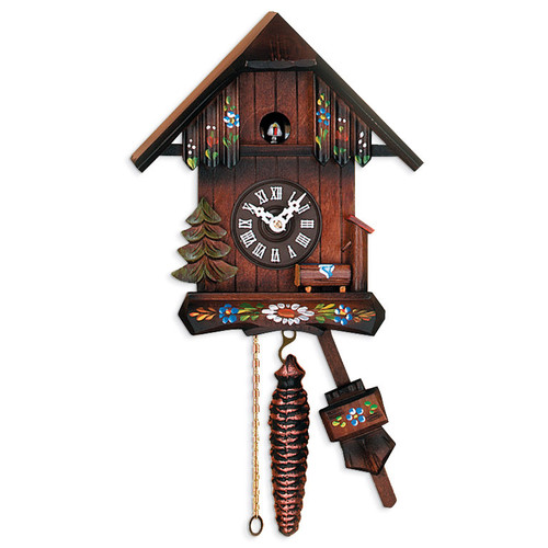 Cottage with Hand-painted Flowers Cuckoo Clock GM16187