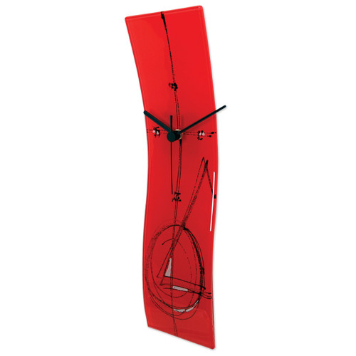 Red Artisan Glass Curved Wall Clock GM16190