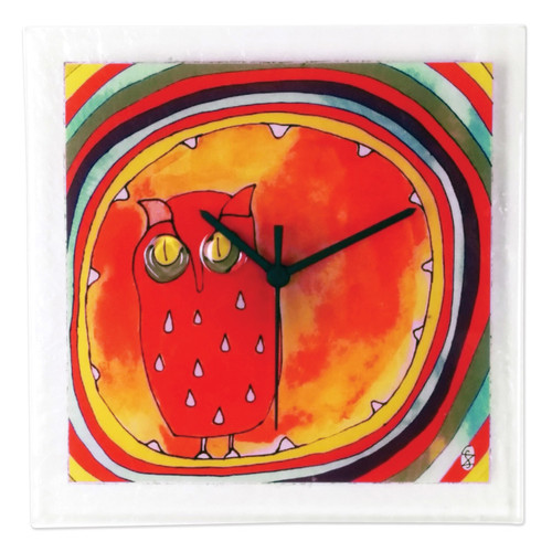 Owl Artisan Glass Wall Clock GM16192