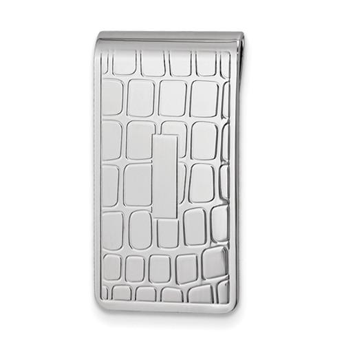 Croco Pattern Money Clip Silver-tone GM16798