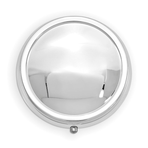 3-Section Round Pillbox with Mirror Silver-tone GM16814