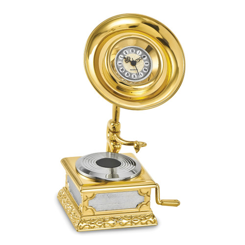 Gramophone Desk Clock Gold-tone GM16858