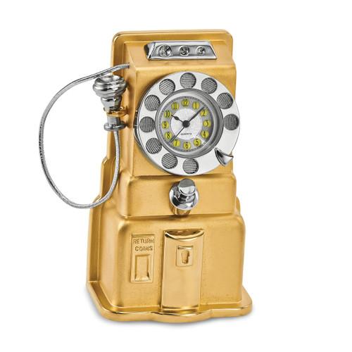Telephone Desk Clock Gold-tone GM16859