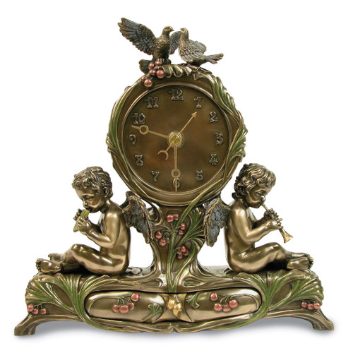 Twin Cherubs Playing Instruments Clock GM17129
