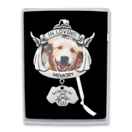 In Loving Memory Dog Angel Photo Ornament Silver-tone GM17294