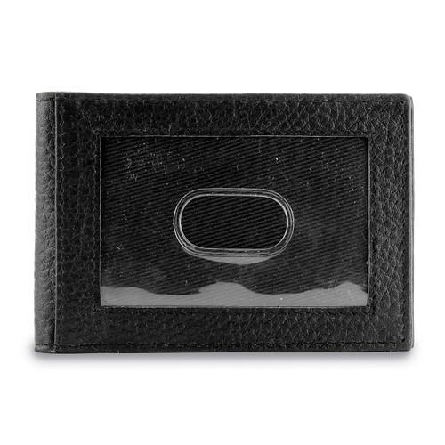 Black Leather Bi-fold Wallet Money Clip GM17691