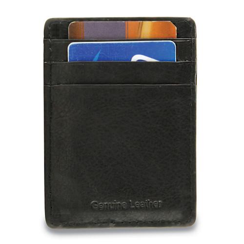 Black Leather Card Case Money Clip GM17786