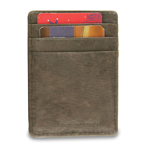 Brown Leather Card Case Money Clip GM17787