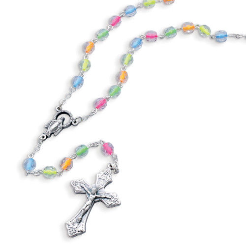 Children's Neon Color Bead Rosary Necklace GM17986
