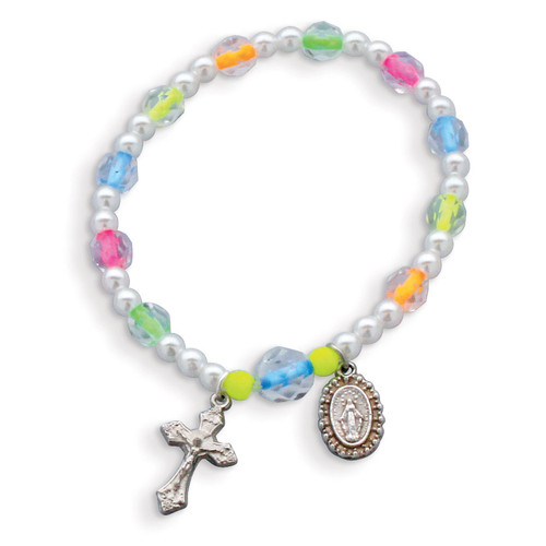 Children's Neon Color Bead Rosary Bracelet GM17987