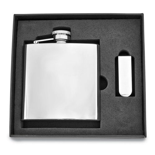 6 oz. Stainless Steel Flask and Money Clip Gift Set GM2714