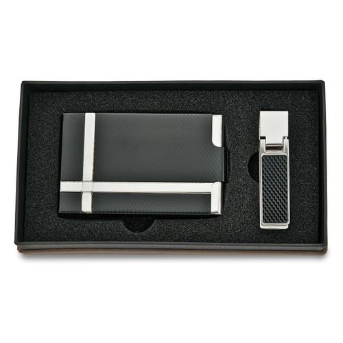 Black Silver-tone Carbon Fiber Card Case Money Clip Set GM5140