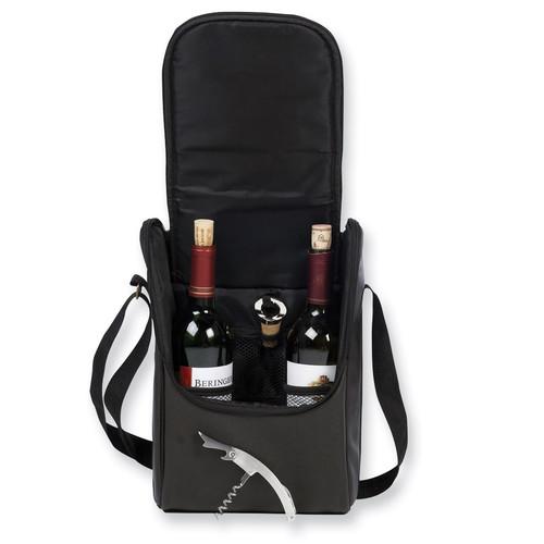Espresso Faux Leather Double Wine Carrier GP7797