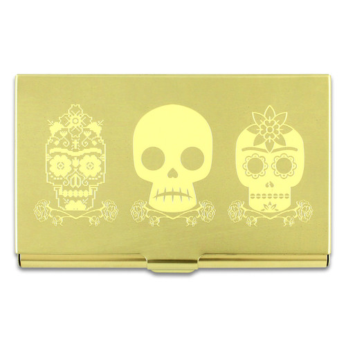 Acme 3 Skull Etched Card Case