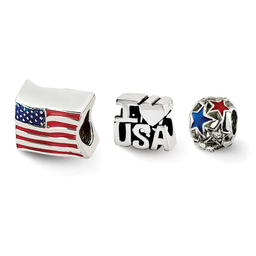 I Love the USA Boxed Bead Set Sterling Silver QRSET142