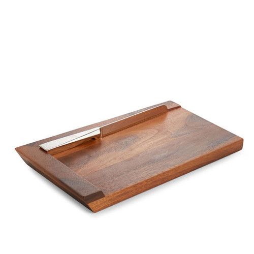 Nambe Geo Challah Bread Board with Knife Wood Stainless Steel 17 Inch L x 9.5 Inch W x 2 Inch H