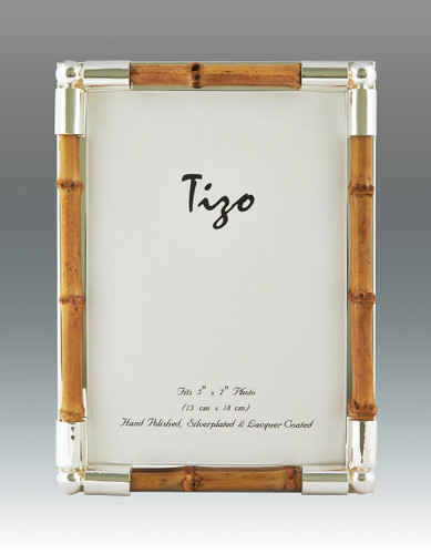 Tizo 4 x 6 Inch Shiny Bamboos Silver-plated Picture Frame - Bamboo