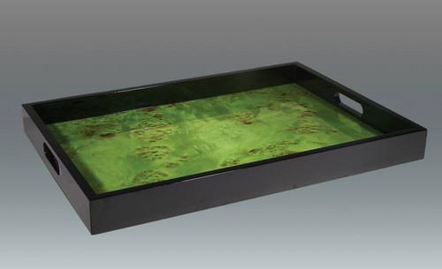 Tizo Small Wooden Cloud Waves Platter 13 x 11 Inch - Green
