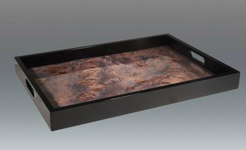 Tizo Large Wooden Cloud Waves Platter 19 x 13 Inch - Blue
