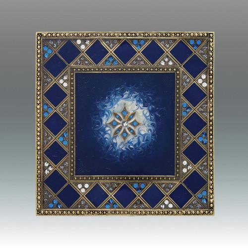 Tizo Super Nova Jeweltone Square Coaster - Blue