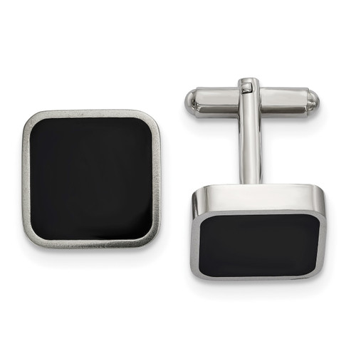 Black Enameled Square Cufflinks Stainless Steel Polished SRC363