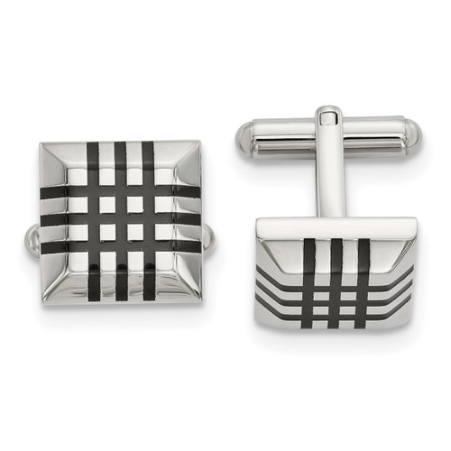 Black Rubber Cufflinks Stainless Steel Polished SRC378