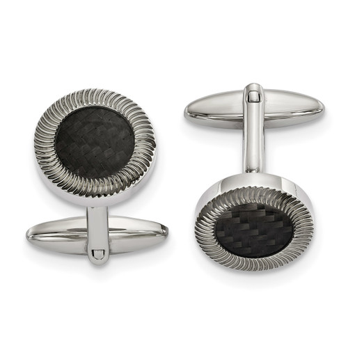 Black Carbon Fiber Inlay Cufflinks Stainless Steel Polished SRC386