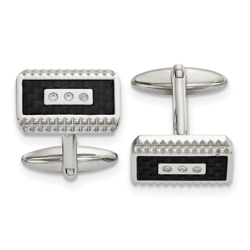 Black Carbon Fiber Inlay with Diamond CZ Cufflinks Stainless Steel Polished SRC387