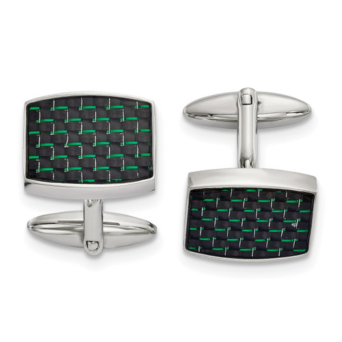 Black and Green Carbon Fiber Inlay Cufflinks Stainless Steel Polished SRC391