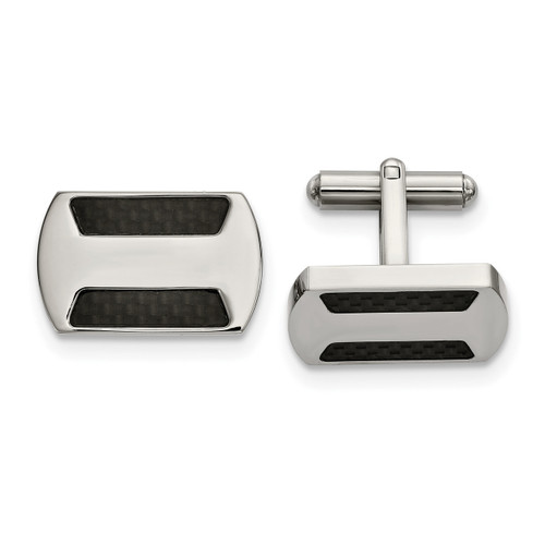 Black Carbon Fiber Inlay Cufflinks Stainless Steel Polished SRC395
