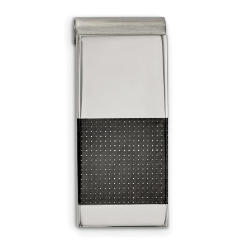 Black Carbon Fiber Inlay Money Clip Stainless Steel Brushed and Polished SRM183