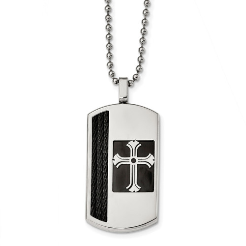 Black IP-plated Cross Dog Tag Stainless Steel Brushed and Polished SRN2414-22