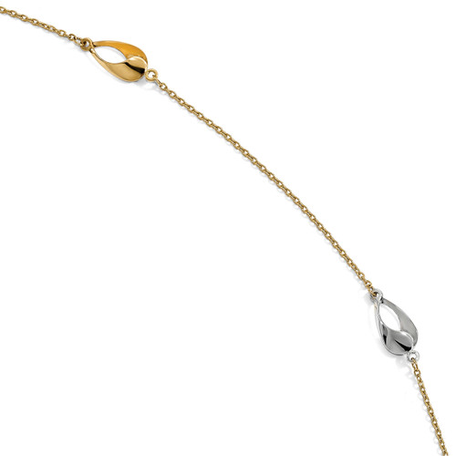1 inch Extender Anklet 9 Inch 14k Two-tone Gold Polished LF877-9