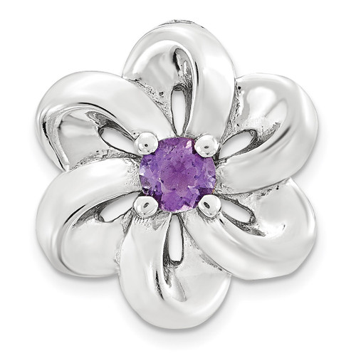 Amethyst Flower Chain Slide Sterling Silver Small QSK1697