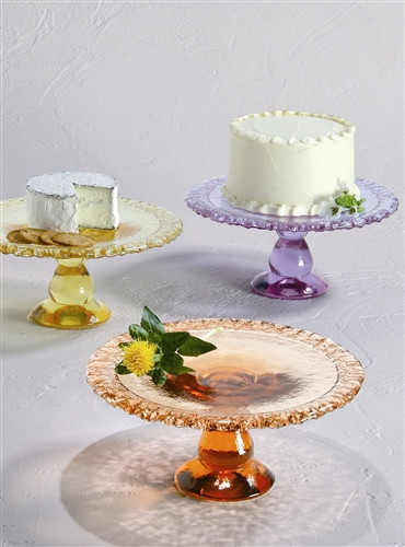 Fire and Light Pedestal Cake Plate 10 1/2 x 4 3/4 Inch