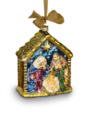 Jay Strongwater Holy Family Glass Ornament Jewel SDH2107-250
