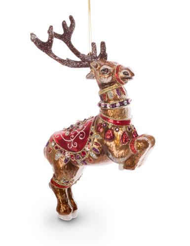 Jay Strongwater Dancer Reindeer Glass Ornament Siam SDH2117-222